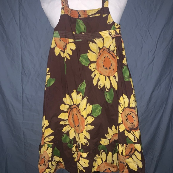 3/$15! GUC Brown Dress with Yellow Sunflowers